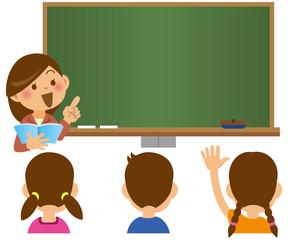 黒板の前で指を指している女性教師と生徒のイメージイラスト