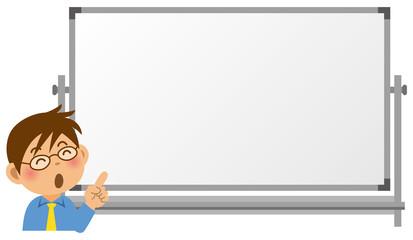 ホワイトボードの前で指を指している男性教師のイメージイラスト