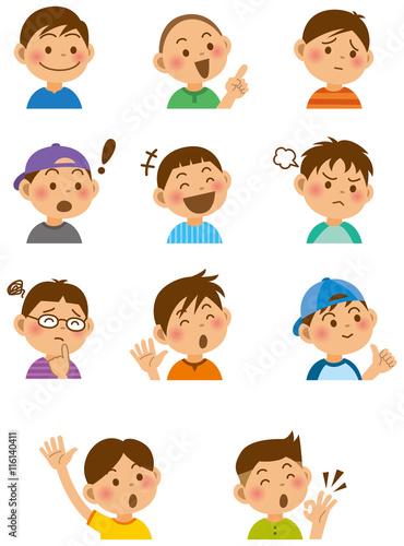 小学生の表情イラストセット男の子fotoliacom の ストック画像と
