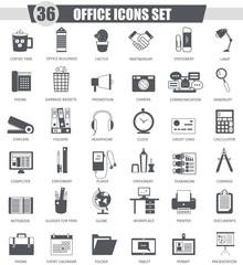 Vector Office black icon set. Dark grey classic icon design for web.