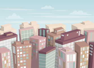 City landscape. Isometric view. Cartoon vector illustration