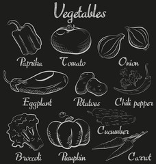 Vintage vegetables. Hand-drawn chalk blackboard sketch organic vegetables collection.