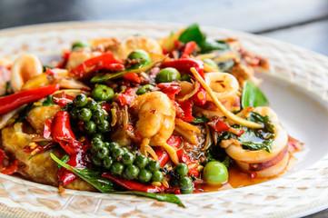 seafood stir fried with Thai herb