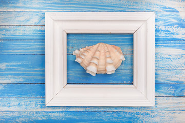 Summer photo frame with sea shell