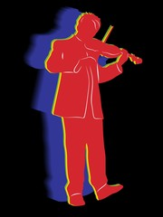 silhouette of violinist. vector drawing
