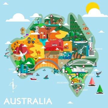 Australia Discover Design Vector Illustration. Great Map for Traveling.