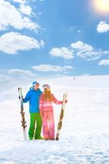 Smiling couple on a mountain