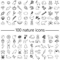 one hundred nature theme outline icons big set eps10