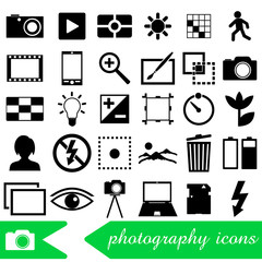 photography and camera theme black simple icons set eps10
