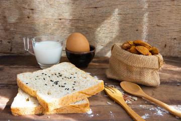 American breakfast on old wood table