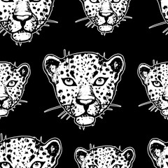 Seamless pattern with leopards. Vector seamless texture for wallpapers, pattern fills, web page backgrounds