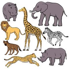 Set of African animals: hippopotamus, elephant, lion, giraffe, zebra, hyena, cheetah, rhino