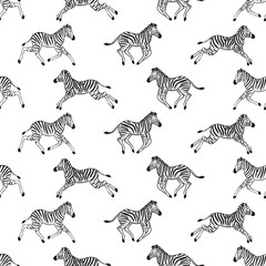 Seamless pattern with running zebras