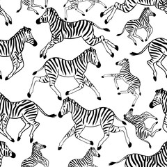 Seamless pattern with zebras. Vector seamless texture for wallpapers, pattern fills, web page backgrounds