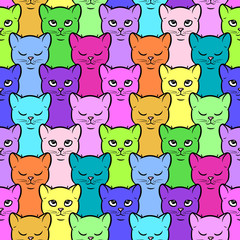 Seamless pattern with cute colorful cartoon kittens. Vector seamless texture for wallpapers, pattern fills, web page backgrounds