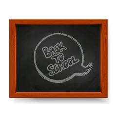 Back to school text written in chalk on blackboard