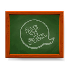 Back to school text written in chalk on green blackboard