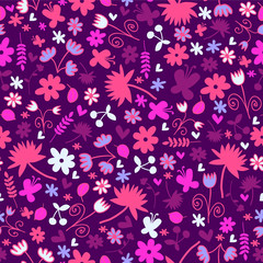 Seamless pattern with sweet floral elements. Vector seamless texture for wallpapers, pattern fills, web page backgrounds