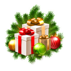 Christmas illustration, shiny baubles and gift boxes on fir branches background isolated on white