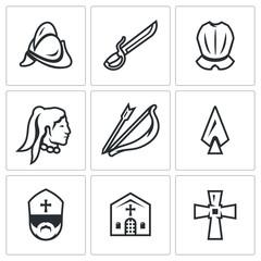 Vector Set of Spanish Conquistador Icons. Helmet, Saber, Armor, Native American, Bow, Arrow, Spear, Bishop, Church, Cross.
