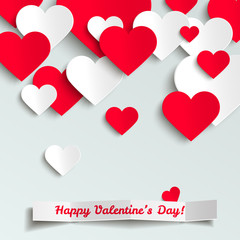 Valentine vector illustration, red and white paper hearts on white background, greeting card