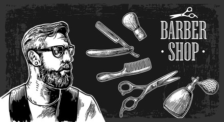 Hipster shave haircut in the BarberShop. Vector black and white illustrations and typography elements.