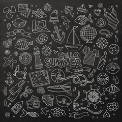 Marine nautical chalkboard hand drawn vector symbols and objects
