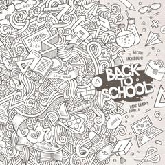 Cartoon cute doodles hand drawn school frame