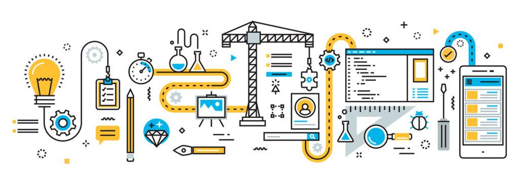 Flat line vector design illustration concept plan of mobile application development process, app design, programming, coding, building and debugging for website banner and landing page, infographics