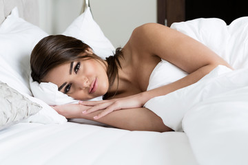 beautiful girl sleeps in the bedroom. relaxing