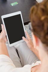 Cropped image of woman with digital tablet