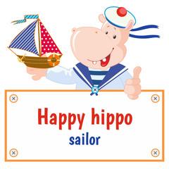 Set of vector happy hippo: sailor. Funny hippopotamus.  Frame for text.