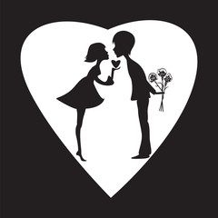silhouette of a girl and a boy on a white heart Valentine Day black background vector