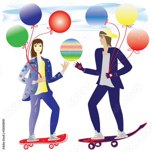 Girl And Guy Skateboarding Air Balloons Light Romantic Background