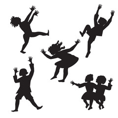children dancing black and white silhouette isolated abstract vector illustration on a white background