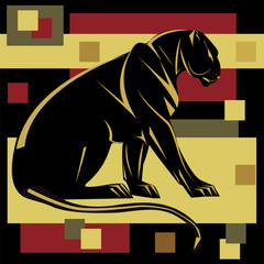 Panther decorative art abstract illustration isolated black background vector