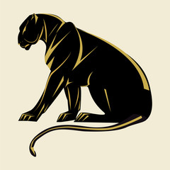 Panther Art abstract illustration isolated on white background vector