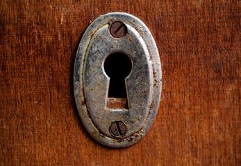 Vintage rusty keyhole closeup shot