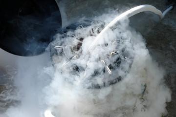 Filling a liquid nitrogen.