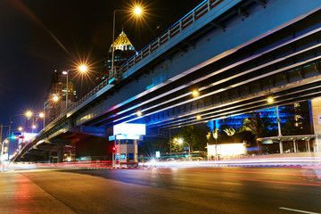 Cityscape Of Bangkok, Thailand. Urban Transportation Background