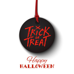Happy Halloween card, trick or treat lettering on black banner, vector illustration