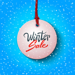 Winter sale handwritten text on price tag label, advertising vector illustration