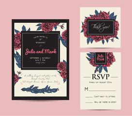 Botanic invitation set with rsvp card. Beautiful invitation deco