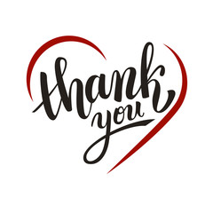 Thank you handwritten vector illustration, dark brush pen lettering with red heart isolated on white background