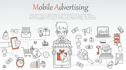 Mobile advertising banner. Doodle line design of web banner templates with outline icons. Vector illustration concept for website or infographics