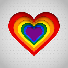 Rainbow heart vector illustration, Valentine, LGBT