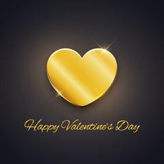 Happy Valentine's Day card, golden heart on dark background, vector illustration