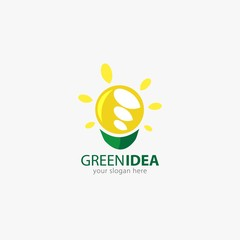 vector illustration of eco green logo design template. flat style