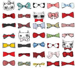 Set of tie-bow with hipster cats.