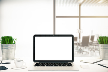 Office desktop with white notebook